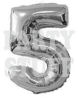 Фольгированный шар цифра 5 серебро, 100 см
