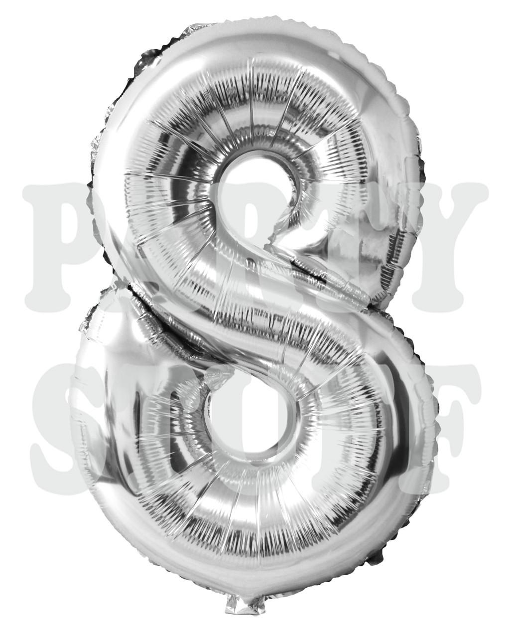 Шар фольгированный цифра 8 серебро, 100 см