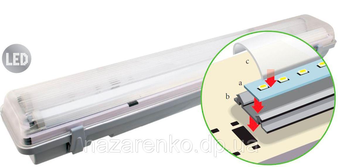 Светодиодный герметичный LED светильник DSP-LED 12 W IP65 1x600 мм