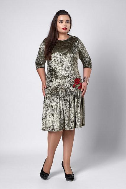 Платье бархат-велюр оливка