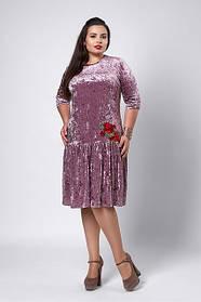 Платье бархат-велюр темно-розовое