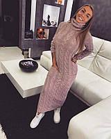 Женское теплое вязаное платье у-3547PL