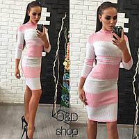 Вязаное теплое платье -резинка н-3551PL