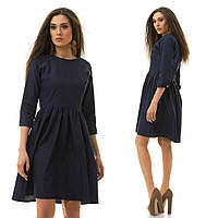 Джинсовое модное платье свободного силуэта слегка удлиненное сзади