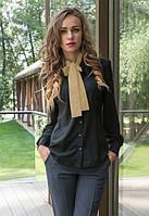 Женская рубашка с галстуком  у-4063BL