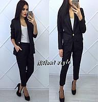 Костюм женский красивый: пиджак и укороченные брюки на резинке габардин (4 цвета) черный, 42-44