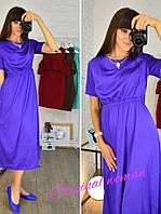 Свободное летнее платье ниже колен в расцветках f-5532PL