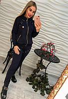 Костюм модный женский спортивный со шнуровкой: мастерка без капюшона на молнии и штаны трикотаж (2 цвета) серый, M