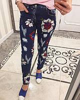 Зауженные женские джинсы с аппликацией o-6287SH