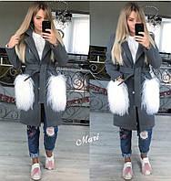 Демисезонное серое женское пальто с мехом на карманах (размер единый 42-46) 6454RA