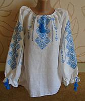 """Жіноча сорочка-вишивака з довгим рукавом """"Класика"""" на білому  льоні ручна робота розмір M"""