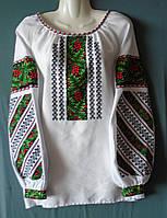 """Вишиванка  на білому  домоткану полотні """"Борщівська"""", 48 розміру."""