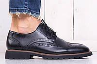 Туфли классические мужские броги черные (экокожа)