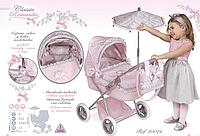 Коляска для куклы детская классическая «Романтик» с зонтиком DeCuevas 85019