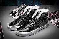Мужские кроссовки Vans Velvet Crocodile Leathe Black С МЕХОМ