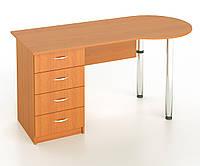 Стол письменный с хромированными ножками с тумбой с 4 шухлядами, фото 1