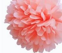 Бумажный помпон из тишью 35 см персиковый