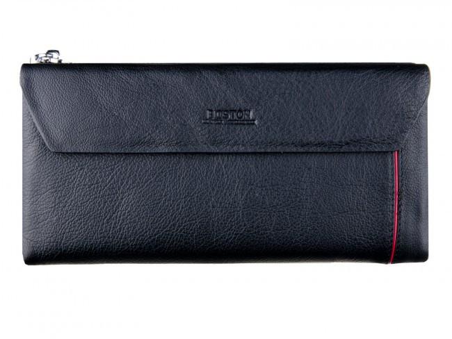 Вместительный кожаный мужской кошелек купюрник черного цвета в итальянском стиле BOSTON (B2-009 Black)