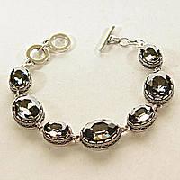 [15, 20 мм] Браслет серый металл ажурная оправа овальные камни серебряный цвет алмазная огранка