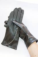 Сенсорные женские кожаные перчатки вязка с белой строчкой