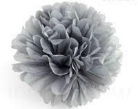 Бумажный помпон из тишью 25 см серый