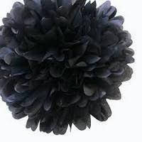 35 см Бумажный помпон из тишью черный