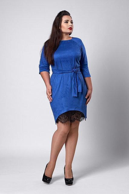 b115b3916d3 Красивое женское платье из замша с кружевом