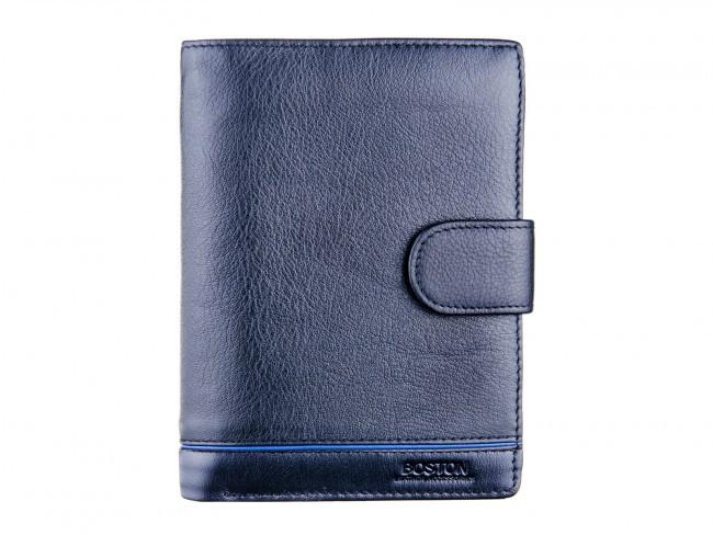 Вертикальный мужской портмоне с файлами для документов из натуральной кожи  BOSTON (B3-004 Black)