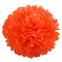 Бумажный помпон из тишью 35 см оранжевый