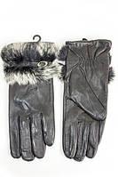 Модные кожаные женские перчатки с мехом