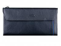 Вместительный кожаный мужской кошелек купюрник черного цвета в итальянском стиле BOSTON (B3-009 Black)