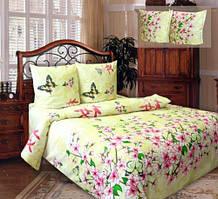 Комплект постельного белья двуспальный  ЦВЕТЕНИЕ САКУРЫ  (навол. 70*70)