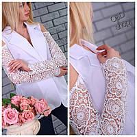 Пиджак стильный с кружевными рукавами и вырезами на плечах габардин 2 цвета Pc73