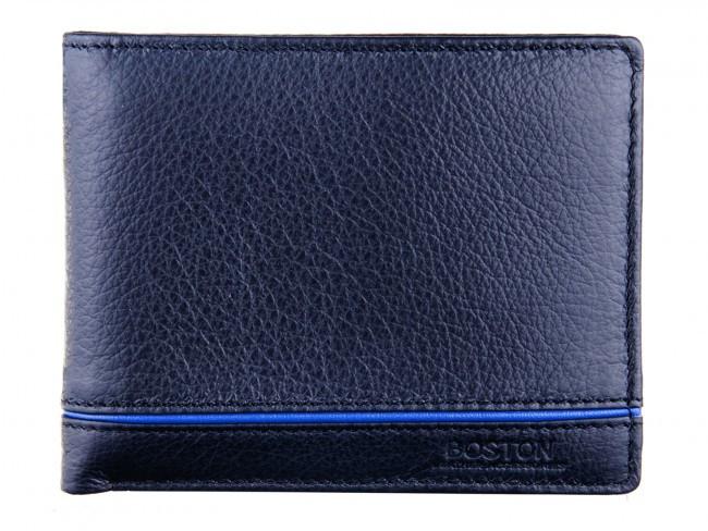 Компактный мужской портмоне - зажим из натуральной кожи в италийском стиле BOSTON (B3-014 Black)