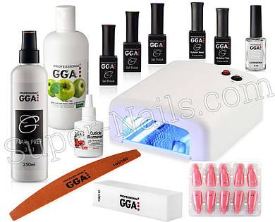 Стартовый набор гель-лака GGA Professional с УФ лампой Суперцена!