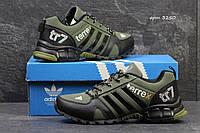 Мужские кожаные кроссовки Adidas TR7 код 3250 темно зеленые