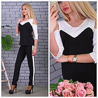 Костюм женский стильный блуза и брюки с лампасами разные цвета Dc666