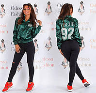 """Женская атласная куртка-бомбер """"Vogue"""" (цвета в ассортименте) Love KAN № 0504"""