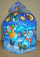 """Новогодняя упаковка из картона """"Веселые снеговики 1000г."""", фото 1"""