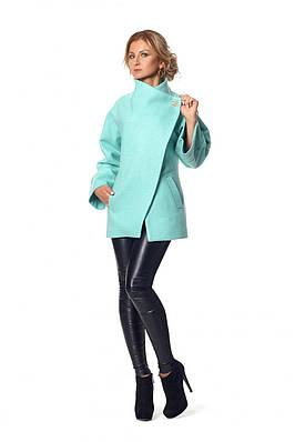 Элегантное мятное женское пальто из эко-шерсти  44 46 50