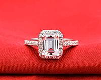Кольцо с австрийскими кристаллами, покрытое серебром р 16,17,18,19 код 1258