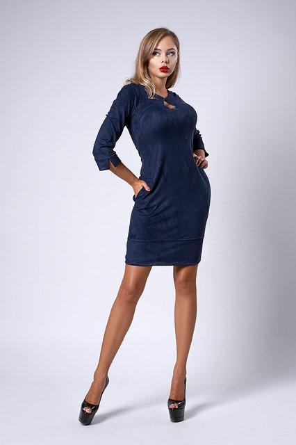 Темно-синее осенне платье из плотного замша