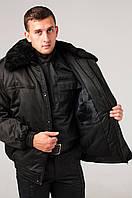 Куртка зимняя камуфлированная черного цвета  ОЗФ Охрана