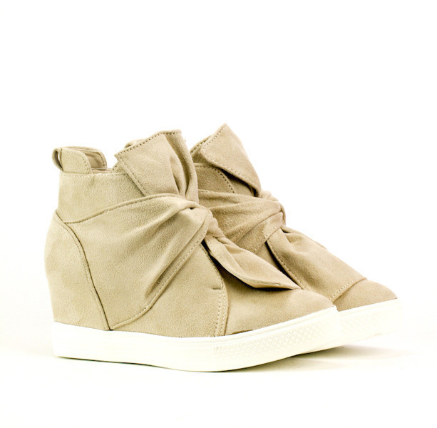 Женские сникерсы, ботинки с бантиком