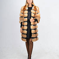 Шуба-полушубок-пальто из натурального меха лисы