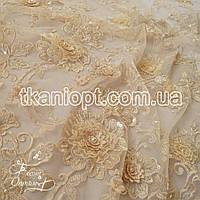 Ткань Гипюр расшитый бисером,пайетками (айвори)