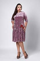 Платье бархат-велюр оливка, фото 3