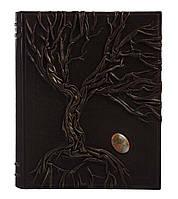 Кожаная Родословная книга инкрустирована натуральным камнем (яшма)