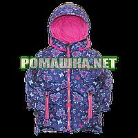 Детская весенняя осенняя куртка рр. 92 98 104 для девочки с капюшоном подкладка 100% хлопок 3835 Малиновый