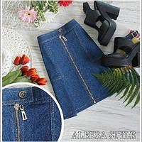 Юбка джинсовая модная короткая на молнии спереди Ua78
